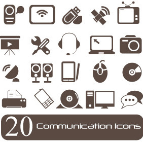 Communication Icons Set - Free vector #203915