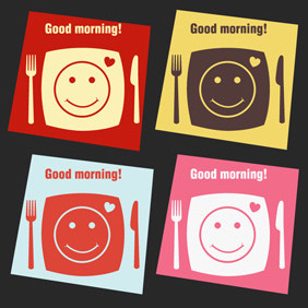 Free Vector Of The Day #89: Breakfast Cards - vector #203945 gratis