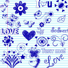 Doodle Love Elements 1 - Free vector #203975