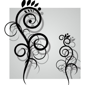 Swirl Flowers Vector - бесплатный vector #204405