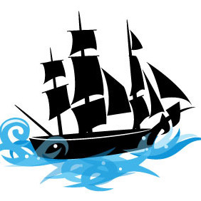 Ship Vector On Blue Sea - Kostenloses vector #204835