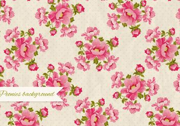 Peonies Retro Background - Free vector #205125