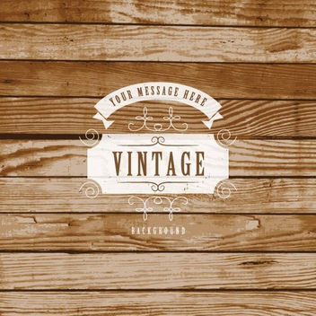 Vintage Label On Wooden Background - vector gratuit #205475