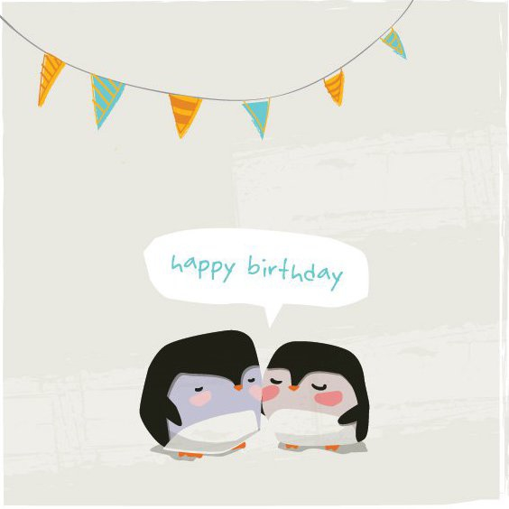 Penguins Birthday Card - Free vector #205675