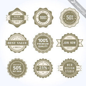 9 Unique Vector Badges - Free vector #207085