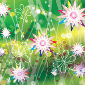 Colored Flower In Retro Green Background - vector #207345 gratis