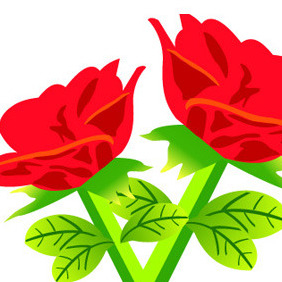 Free Vector Red Rose Flowers - Free vector #207365
