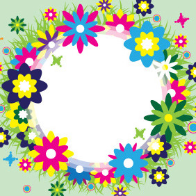 Spring Wreath Vector - Free vector #207795