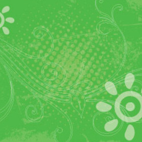 Green Grunge Swirly Free Vector Art Design - vector gratuit #208035