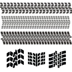Set Of Tire Tracks - vector gratuit #208195