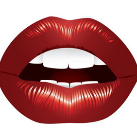Full Red Lips - vector gratuit #208325