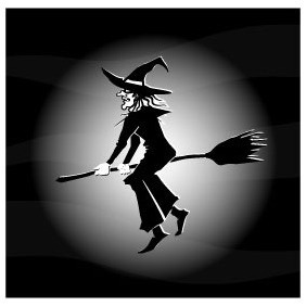 Witch Flying On Broom - Free vector #208545