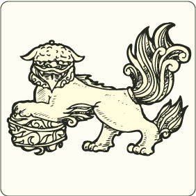 Japanese Fu Lion - Kostenloses vector #208845