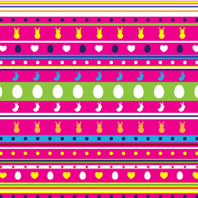 Colorful Background With Easter Elements - vector #208925 gratis