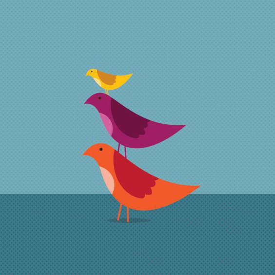 Birds Growing Together - Free vector #209005
