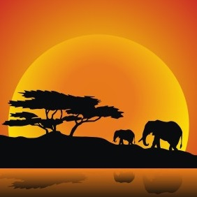 Elephants Family - Free vector #209175