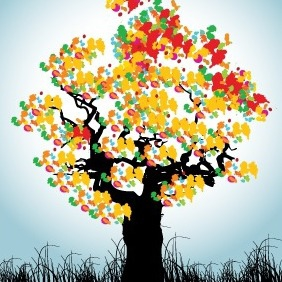 Abstract Tree Colorful Background - бесплатный vector #209515