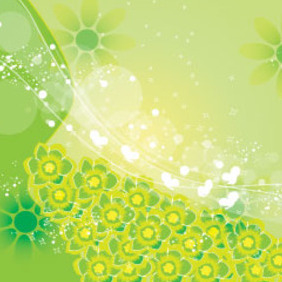 100 Green Flowers In Green Background - Free vector #209555