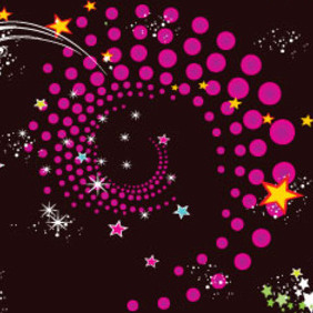 Colored Stars In Black Vector Background - Free vector #209845
