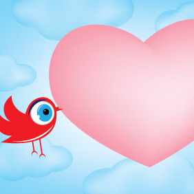 Valentines Day Bird Card - Free vector #210735