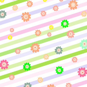Stripes With Flowers - vector #210835 gratis