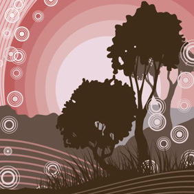 Trees In The Evening - vector gratuit #211515