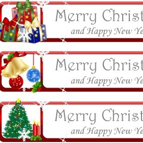 Christmas Greeting Banner Vector - Free vector #211815