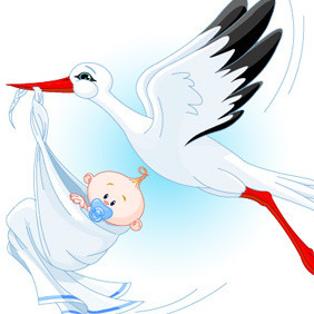 Stork With Baby - Free vector #211995