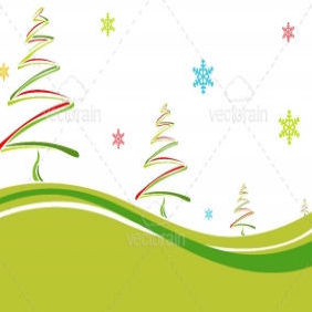 Christmas Card With Colorful Pine Trees And Snowflakes - vector gratuit #212155