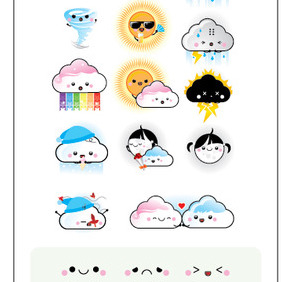 12 Weather Kawaii - vector #212905 gratis