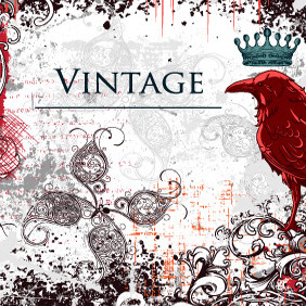 Free Vector Vintage Illustration With Raven - бесплатный vector #213455