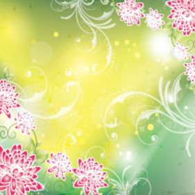 Green Vector With Red Flowers - vector gratuit #213765