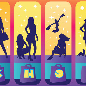 Shopping Girls - vector gratuit #213815