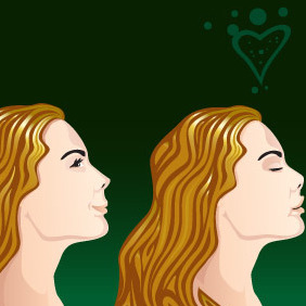 Lovely Girl Side View - vector gratuit #213845