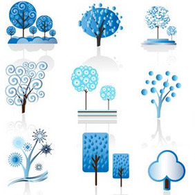 Winter Tree Set - vector gratuit #213945