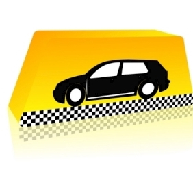 Taxi On The Way, Against Yellow Background - vector gratuit #214185