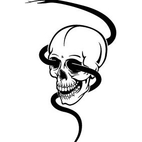 Skull With Snake - vector gratuit #214475