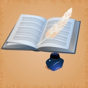 Feather Pen With Open Book - vector gratuit #214525