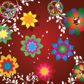 Colored Flowers In Red Dark Background - Free vector #214655
