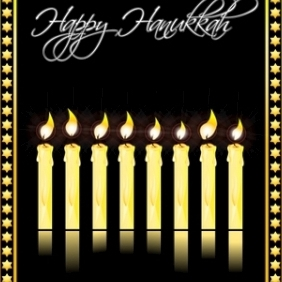 Happy Hanukkah Card - vector gratuit #214925
