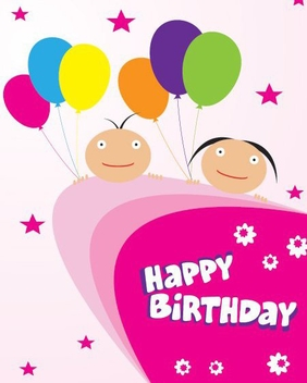 Happy Birthday Card - vector gratuit #215725