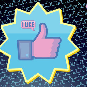 Facebook Like Vector Button - Kostenloses vector #216005