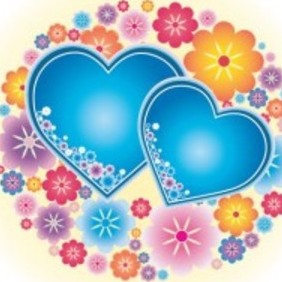 Hearts With Flowers Vector Http:www.ayoubox.com - Free vector #216015