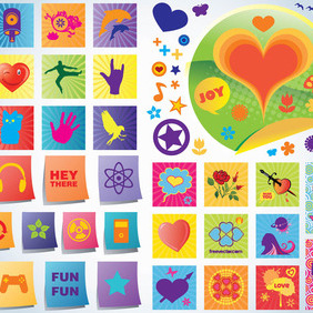 Fun Love Vector Icons - vector gratuit #216285