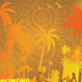 Exotic Beach Vector - Free vector #216665
