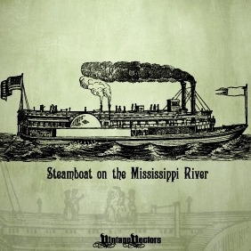 Steamboat On The Mississippi River - vector gratuit #216775