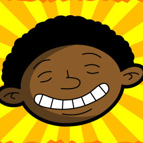 Happy Sunshine Black Kid - vector gratuit #216965