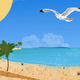 Summer Beach With Seagulls - Free vector #217145