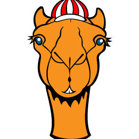 Camel With Hat Vector - Free vector #217375