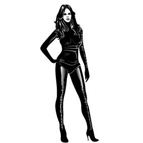 Girl In Black Leather Vector - Free vector #217565